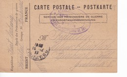 Brest Hopital Arsenal Carte De Franchise Militaire Dépôt Prisonniers De Guerre 1917 - Marcophilie (Lettres)