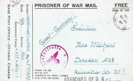 Carte De Franchise Militaire Prisonnier Allemand Aux Mains Du Canada Base Post Office Ottawa Canada 1944 - Marcophilie (Lettres)