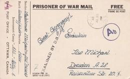 Carte De Franchise Militaire Prisonnier Allemand Aux Mains Du Canada Base Post Office Ottawa Canada 1943 - Marcophilie (Lettres)