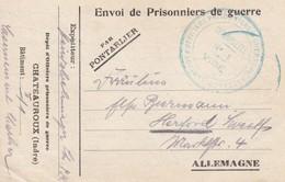 Carte De Franchise Militaire Dépot D'officiers Prisonniers De Guerre De Chateauroux (type 1 Caractères Latins Gras) 1918 - Marcophilie (Lettres)