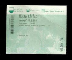 Biglietto Di Ingresso - Museo Civico Di Siena - Tickets D'entrée