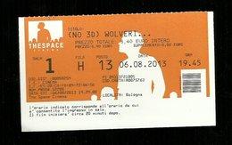 Biglietto Di Ingresso Cinema - Film Wolveri  - Thespace Bologna - Tickets D'entrée