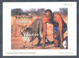 Namibia - 1998 Race Between Man And Cheetah Block MNH__(TH-3143) - Namibia (1990- ...)