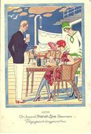 1928 ART NOUVEAU ART DECO  SIGN. GEORGE BARBIER FRENCH LINE ON BOARD FRENCH LINE STEAMERS VOYAGEURS D'AUJOURD'HUI - Menú