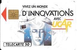 CARTE-PUCE-PRIVEE-PUBLIC- 50U-GEM-07/92-EN400-INNOVATIONS-UCAR-R°Laqué-V°SérieA-UTILISE-TBE - France