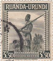TIMBRE 0012 RUANDA URUNDI - Y&T RW-U 140 De 1942 - 3,50 Fr -  Soldier - Palm Trees And Different Subjects - Ruanda-Urundi