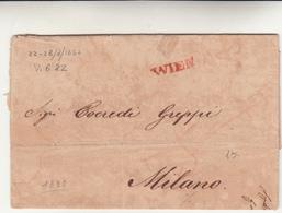 Vienna Per Milano, Lettera Con Contenuto 1832 - Österreich