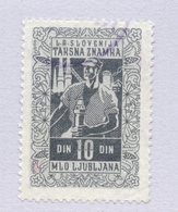 1950s YUGOSLAVIA, SLOVENIA, 10 DIN. MLO LJUBLJANA MUNICIPALITY REVENUE STAMP - Slowenien