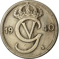 Monnaie, Suède, Gustaf V, 25 Öre, 1940, TTB, Nickel-Bronze, KM:798 - Sweden