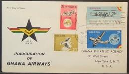 Ghana - FDC Cover To USA 1958 Bird Of Prey Ghana Airways Consonant Cancel - Ghana (1957-...)