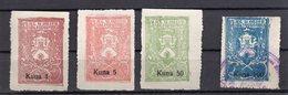 1941. NDH,KOPRIVNICA,4 DIFFERENT OVERPRINTED REVENUE STAMPS,1 KUNA, 5 KUNA, 50 KUNA I 100 KUNA - Croatia