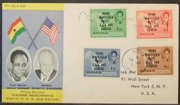Ghana - FDC Cover To USA 1958 Bird Nkrumah Overprinted - Ghana (1957-...)