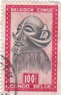 """TIMBRE 0026 - Congo Belge - Y&T BE-CD 295 De 1948 - 100 Francs - """"Mbawa"""" Executioner's Mask With Buffalo Horns - Congo Belge"""