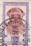 """TIMBRE 0027 - Congo Belge - Y&T BE-CD 292 De 1948 - 10 Francs - """"Buadi-Muadi"""" Mask With Squared Features - Congo Belge"""