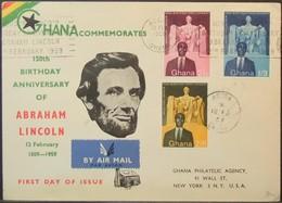 Ghana - Registered FDC Cover To USA 1959 Abraham Lincoln - Ghana (1957-...)