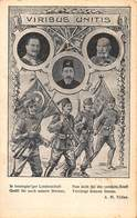 VIRIBUS UNITIS~KAISER WILHELM-KAISER JOSEF~SULTAN RESHAD OF TURKEY~MILITARY WW1 POSTCARD 46370 - Weltkrieg 1914-18