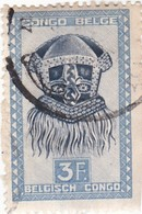 """TIMBRE 0033 - Congo Belge - Y&T BE-CD 288A De 1949 - 3 Francs - """"Buadi-Muadi"""" Mask With Squared Features - Congo Belge"""