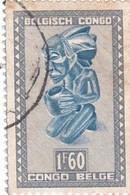 "TIMBRE 0036 - Congo Belge - Y&T BE-CD 286B De 1950 - 1 Franc 60 Centimes - ""Buangakokoma"" Statue Of Kneeling Beggar - Congo Belge"