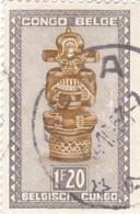 "TIMBRE 0037 - Congo Belge - Y&T BE-CD 285A De 1950 - 1 Franc 20 Centimes - ""Tshimanyi"" (figure Of Idol) - Congo Belge"
