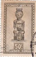 """TIMBRE 0040 - Congo Belge - Y&T BE-CD 282 De 1948 - 50 Centimes - """"Ndoha"""" (Seated King Named Bope Kena) - Congo Belge"""