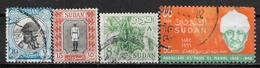 1951-1968 SUDAN SET OF 4 USED STAMPS (Michel # 136,137,188x,244) CV €1.80 - Sudan (1954-...)
