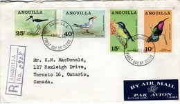 ANGUILLA,  Registered FDC,  Birds   /   Lettre De Première Jour Recomandée,  Oiseaux    1968 - Vögel