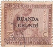 "TIMBRE 0089 - Rwanda Urundi - Y&T RW-U 54 De 1924 - 25 Centimes - Type ""Vloors"" Belgian Congo Bel BE C110 With Overprint - Ruanda-Urundi"