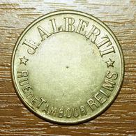 "Jeton Reims ""J. Alberti - Rue De Tambour - Reims"" French Champagne Emergency Token - Monedas / De Necesidad"