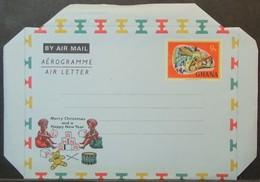 Ghana - Unused Stamped Stationery Aerogramme Reptile Chameleon Child Toys Drum Teddy Bear - Ghana (1957-...)