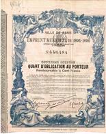 Obligation Ancienne - Ville De Paris - Emprunt Municipal De 1894-1896  - Titre Original  N° 446484- Déco - Shareholdings