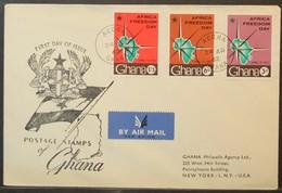 Ghana - FDC Cover To USA 1962 Freedom Day - Ghana (1957-...)