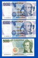 Italie  10.000 Lire  Neuf  2  Billets  Suite  +  1  Billet  De  5000 Lire - [ 2] 1946-… : República