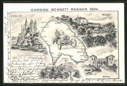 Künstler-AK Limburg, Gordon Bennett Rennen 1904, Rennstrecke, Dom, Saalburg - Motorsport