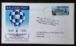 New Zealand, Circulated FDC, « BALLOON POST, 50th Anniversary », 1980 - Neuseeland