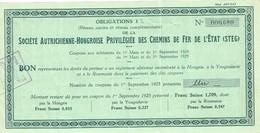 Obligation 3% De La Sté Autrichienne-Hongroise Privilégiée Des Chemins De Fer De L' Etat - Titre De 1925 - - Chemin De Fer & Tramway