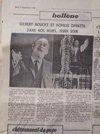 CIRQUE- 2 ARTICLES PUB: CIRQUE PINDER- JEAN RICHARD à BOLLÈNE Et VAISON (Vaucluse) (LE PROVENÇAL Du 05/09/1972) - Publicités