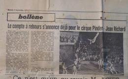 CIRQUE- 2 ARTICLES & 1 PAVÉ PUB: CIRQUE PINDER- JEAN RICHARD à BOLLÈNE Et VAISON (Vaucluse) (LE PROVENÇAL Du 02/09/1972) - Publicités