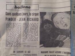 CIRQUE- 2 ARTICLES PUB: CIRQUE PINDER- JEAN RICHARD à BOLLÈNE Et VAISON (Vaucluse) (LE PROVENÇAL Du 03/09/1972) - Publicités