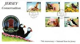 JERSEY, FDC, Marsh Harrier, Puffin, Warbler, Swallowtail  /   Lettre De Première Jour, Faucon, Fauvette, Macareux   2011 - Vögel