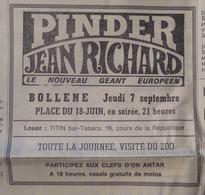 CIRQUE- PAVÉ PUB: CIRQUE PINDER- JEAN RICHARD à BOLLÈNE (Vaucluse) (LE PROVENÇAL Du 28/08/1972) - Publicités