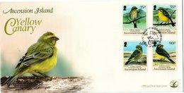 ASCENSION ISLAND, FDC, Yellow Canary    /    Lettre De Première Jour,  Canari Jaune    2010 - Sperlingsvögel & Singvögel