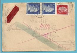 """TRAVAILLEURS CIVILS BELGES En Allemagne,Brief Vanuit """"Werkheim"""" DESSAU Op 13/8/1943 Naar Ville-Pommeroeul , Gepruft - Weltkrieg 1939-45"""
