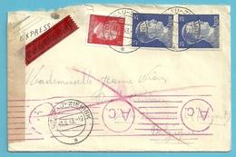 """TRAVAILLEURS CIVILS BELGES En Allemagne,Brief Vanuit """"Werkheim"""" DESSAU Op 13/9/1943 Naar Ville-Pommeroeul , Gepruft - Weltkrieg 1939-45"""
