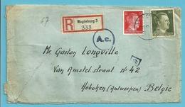 """TRAVAILLEURS CIVILS BELGES En Allemagne,Brief Aangetekend Vanuit """"LAGER"""" MAGDEBURG  Naar HOBOKEN , Gepruft - Weltkrieg 1939-45"""