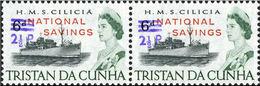 TRISTAN DA CUNHA 1971 Naval Ship HMS Cilicia OVPT:2½d.NATIONAL SAVINGS PAIR Warships Troops [PRINT:2710] - Tristan Da Cunha