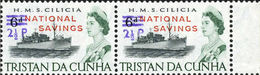 TRISTAN DA CUNHA 1971 Naval Ship HMS Cilicia OVPT:2½d.NATIONAL SAVINGS MARGIN.PAIR Warships Troops [PRINT:2710] - Tristan Da Cunha