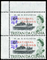 TRISTAN DA CUNHA 1971 Naval Ship HMS Cilicia OVPT:2½d.NATIONAL SAVINGS CORNER PAIR Warships Troops [PRINT:2710] - Tristan Da Cunha