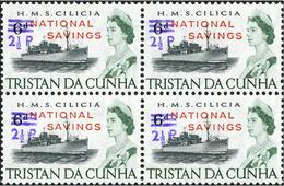 TRISTAN DA CUNHA 1971 Naval Ship HMS Cilicia OVPT:2½d.NATIONAL SAVINGS.4-Block HMS Cilicia Warship Troops [PRINT:2710] - Tristan Da Cunha