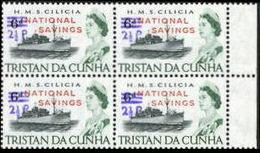 TRISTAN DA CUNHA 1971 Naval Ship HMS Cilicia OVPT:2½d.NATIONAL SAVINGS.MARGIN 4-Block HMS Cilicia Warship Troops [PRINT: - Tristan Da Cunha