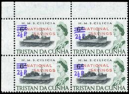 TRISTAN DA CUNHA 1971 Naval Ship HMS Cilicia HMS Cilicia OVPT:2½d.NATIONAL SAVINGS CORNER 4-Block Warships Troops [PRINT - Tristan Da Cunha